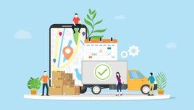 Concetto online di commercio elettronico delle merci di consegna con il camion della gente del gruppo e lo smartphone mobile dei  royalty illustrazione gratis