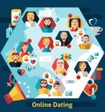 Concetto online di datazione Immagine Stock