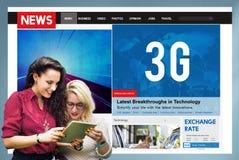 concetto online di Internet della rete di comunicazione di tecnologia 3G Fotografie Stock Libere da Diritti