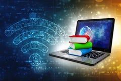 Concetto online di istruzione - computer portatile con i libri variopinti rappresentazione 3d illustrazione vettoriale