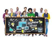 Concetto online di istruzione degli studenti di progettazione di web rispondente di Internet immagine stock