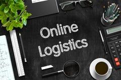 Concetto online di logistica sulla lavagna nera rappresentazione 3d Immagine Stock Libera da Diritti