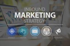 Concetto online di Marketingn di commercio in arrivo di strategia di marketing immagini stock libere da diritti