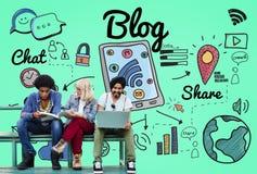 Concetto online di media sociali del contenuto del homepage del blog fotografie stock
