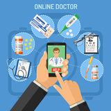 Concetto online di medico Fotografia Stock
