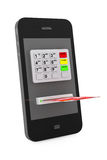Concetto online di pagamenti. Telefono cellulare con il BANCOMAT e la carta di credito Fotografia Stock Libera da Diritti