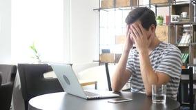 Concetto online di perdita, di espressione facciale, di depressione e di crisi del lavoro Fotografia Stock Libera da Diritti