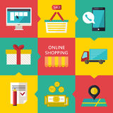Concetto online di processo di acquisto Illustrazione di vettore del commercio di web di affari Fotografia Stock