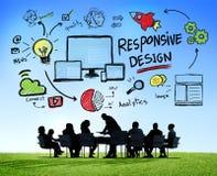 Concetto online di riunione d'affari di progettazione di web rispondente di Internet Fotografia Stock