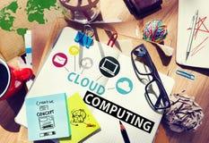 Concetto online di stoccaggio di Internet della rete informatica della nuvola Immagine Stock