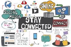 Concetto online di tecnologia della rete collegato soggiorno Fotografia Stock Libera da Diritti