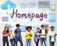 Concetto online di tecnologia di Internet del sito Web del homepage Fotografia Stock Libera da Diritti