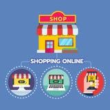 Concetto online di vendita Strategia e rapporto di acquisto online o della campagna online Fotografia Stock Libera da Diritti