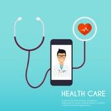 Concetto online di visita medica Stile piano VE moderna di progettazione illustrazione vettoriale