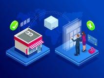 Concetto online isometrico del deposito di Internet Concetto del negozio online, deposito online Commercio elettronico e vendita  illustrazione di stock