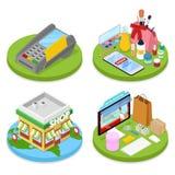 Concetto online isometrico di acquisto Pagamento mobile Deposito di bellezza di Internet Commercio elettronico royalty illustrazione gratis