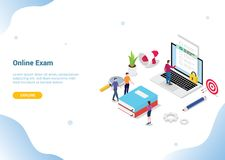 Concetto online isometrico per il homepage di atterraggio dell'insegna del modello del sito Web - vettore dell'esame 3d o di cors illustrazione vettoriale