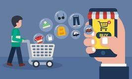 Concetto online mobile del deposito Compera online con il trasferimento delle icone delle merci Fotografia Stock