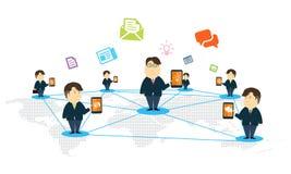 Concetto online mobile di affari della gente di Vecor Fotografia Stock