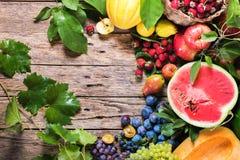 Concetto organico del paese delle bacche di frutti dell'assortimento Fotografia Stock