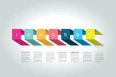 Concetto orizzontale di cronologia 3D Infographic Immagini Stock