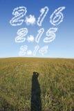 Concetto per 2016 con la nuvola nel cielo Fotografie Stock