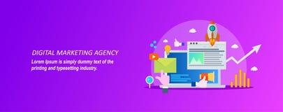 Concetto per l'agenzia digitale di vendita su un fondo viola illustrazione di stock