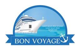 Concetto per la pubblicità del viaggio sulla nave da crociera illustrazione di stock
