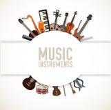 Concetto piano del fondo degli strumenti di musica Vettore illustrazione vettoriale
