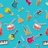 Concetto piano del fondo degli strumenti di musica Vettore illustrazione di stock