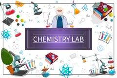 Concetto piano del laboratorio di chimica royalty illustrazione gratis