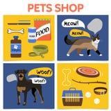 Concetto piano del quadrato del negozio di animali illustrazione di stock