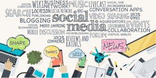 Concetto piano dell'illustrazione di progettazione per i media sociali Fotografie Stock Libere da Diritti