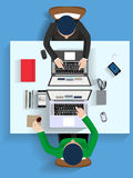 Concetto piano dell'illustrazione di progettazione per il posto di lavoro all'ufficio, area di lavoro Fotografie Stock