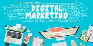Concetto piano dell'illustrazione di progettazione per l'introduzione sul mercato digitale