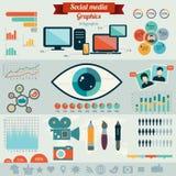 Concetto piano dell'illustrazione di vettore di progettazione per i media sociali Fotografia Stock Libera da Diritti