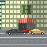 Concetto piano dell'illustrazione di vettore di progettazione per l'hotel della città e taxi e limousine parcheggiati, sityskape illustrazione di stock