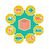 Concetto piano della logistica e del trasporto illustrazione di stock