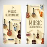 Concetto piano delle insegne degli strumenti di musica Vettore illustrazione di stock