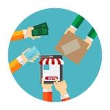 Concetto piano di acquisto online per Apps mobile illustrazione di stock