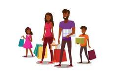 Concetto piano di compera di vettore della giovane famiglia felice royalty illustrazione gratis