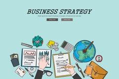 Concetto piano di disegno di strategia aziendale dell'illustrazione di progettazione Concetti per le insegne di web ed i material Immagine Stock