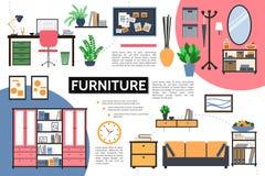 Concetto piano di Infographic della mobilia royalty illustrazione gratis