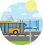 Concetto piano di stile di trasporto pubblico Bus della città con la parte anteriore, fermata Illustrazione isolata di vettore Immagini Stock Libere da Diritti