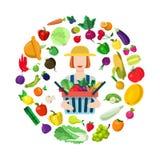 Concetto piano di vettore del negozio dell'azienda agricola: agricoltore femminile con il raccolto dell'alimento Immagine Stock