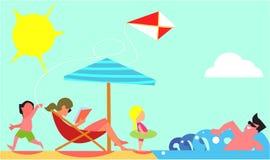 Concetto piano di vettore di progettazione di vacanze estive della famiglia illustrazione vettoriale