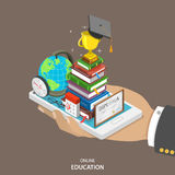 Concetto piano isometrico di vettore di istruzione online Fotografia Stock Libera da Diritti