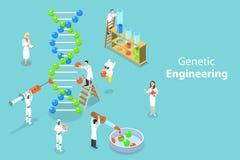 Concetto piano isometrico di vettore di ingegneria genetica, cambiamento della struttura del DNA illustrazione di stock