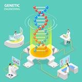 Concetto piano isometrico di vettore di ingegneria genetica royalty illustrazione gratis