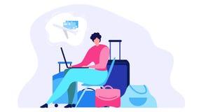 Concetto piano online d'ordinazione di vettore del biglietto di linea aerea royalty illustrazione gratis